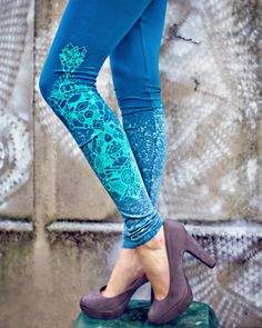Emerald treasury leggings | by ZIBtextile | on Etsy .....such gorgeous leggings in vivid colors in this shop!