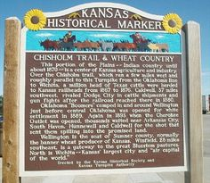 Kansas Historical Marker - Chisholm Trail & Wheat Country.