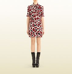 Gucci - leopard print crêpe de chine dress 356626ZDP046555