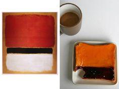 """""""Rosso Nero Bianco su Giallo 1955"""" di Mark Rohtko. Olio su Tela. A destra, fetta di pane con marmellate spalmate alla Rohtko"""