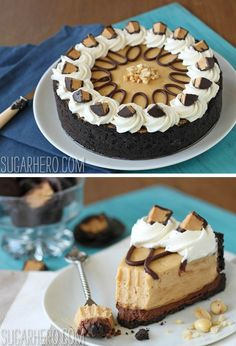 Peanut Butter Chocolate Pie - rich, creamy peanut butter mousse with a thick chocolate layer and chocolate crust! | From SugarHero.com