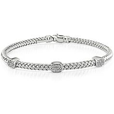 @Overstock.com - 14k White Gold 1/4ct TDW Diamond Bangle (G-H, SI1) - This 7-inch 14k white gold flexible bangle is studded with 3 'groups' of 10 round pave-set diamonds in each.  This bracelet features a high polish finish and lobster claw clasp.  http://www.overstock.com/Jewelry-Watches/14k-White-Gold-1-4ct-TDW-Diamond-Bangle-G-H-SI1/5618280/product.html?CID=214117 $695.69