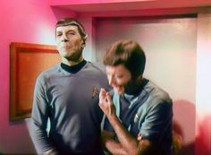 "Film trim of Nimoy and Kelley flubbing their lines and dropping out of character while filiming TOS first season episode ""The Conscience of the King"" -- so it appears McCoy was at least occasionally successful in getting Spock to show some emotion. (courtesy Gerald Gurian)"