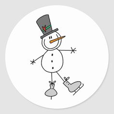 Shop Snowman Ice Skating Classic Round Sticker created by stick_figures. Easy Christmas Drawings, Christmas Doodles, Christmas Card Crafts, Draw A Snowman, Snowman Cards, Cute Snowman, Ice Skate Drawing, Stick Figure Drawing, Snowman Clipart