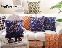 Geometric Decorative Throw Pillow Cases,Blue Orange Floral Cushion Cover Home Decor,Chair Seat Couch Pillow sham for sofa. Category: Home & Garden. Subcategory: Home Textile. Couch Set, Couch Pillows, Bed Sofa, Throw Pillow Cases, Decorative Throw Pillows, Blue Leather Sofa, Cool Couches, Apartment Sofa, Floral Cushions