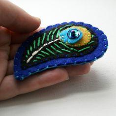 peacock feather felt brooch