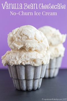No-Churn Vanilla Bean Cheesecake Ice Cream - Cupcakes & Kale Chips Easy No-Churn Cheesecake Ice Cream - a rich and creamy frozen dessert recipe that tastes like vanilla bean cheesecake. Only four ingredients, no ice cream maker, and gluten free! Ice Cream Cupcakes, Ice Cream Treats, Ice Cream Desserts, Frozen Desserts, Ice Cream Recipes, Frozen Treats, Just Desserts, Delicious Desserts, Dessert Recipes
