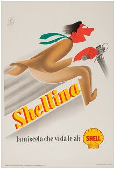 Italian advertising poster for Shellina, 1951 (Shell gas)