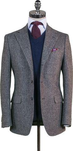 Grey Herringbone Tweed Sport Coat - Beckett & Robb