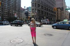Caitlin Hartley of Styled American girl in hot pink lace skirt http://styledamerican.com/hot-pink-lace-skirt/