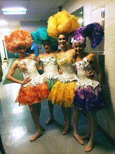 In full bloom! Corps members Lily Marrable, Emma Hawes, Hannah Fischer and Megan Pugh get ready to perform as Flowers in Alice's Adventures in Wonderland. Photo by Kate Hosier. #AliceTakesNYC #nboctour #NYC