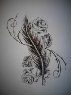 Feather and roses