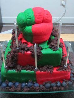 Captain America cookies and Red Hulk Green Hulk Icecream Cake