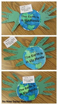 Earth The earth is in my hands craft ~ Boy Mama Teacher Mama - Earth Day Activity UPDATED TEMPLATE NOW AVAILABLE! Earth Day is right around the corner and I have been trying and trying to come up with an idea that hasn't been done yet- not an easy task. Earth Day Activities, Holiday Activities, Classroom Activities, Activities For Kids, Kindness Activities, Primary Classroom, Science Activities, Educational Activities, Math Games