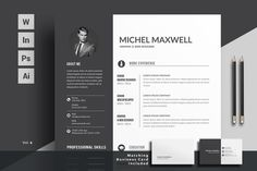 Ad: Resume/CV by ThemeDevisers on Clean Resume Word Template. Elegant page designs are easy to use and customize, so you can quickly tailor-make your resume for any Resume Words, Resume Cv, Resume Design, Cv Design, Resume Format, Graphic Design, Creative Cv Template, Cover Letter For Resume, Cover Letter Template