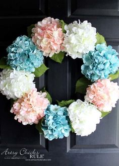 "DIY Hydrangea Wreath: Choose your favorite flowers, and attach 'em to a wire wreath frame--€""it's as simple as that!"
