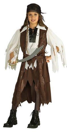 Piratenkostüm für Mädchen: Schönes Piratenkostüm für Mädchen, besteht aus einem Kleid mit Mantel, einem Gürtel und einem Schal.   Mit diesem Kostüm verkörpert Ihr Kind an Karneval oder einer Kostümparty einen...
