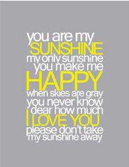You Are My Sunshine Baby Nursery Printable Wall Art PDF