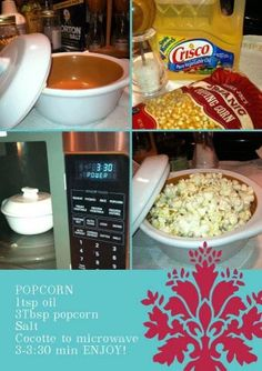 Let me try this...Popcorn in the Pampered Chef Garlic an Brie Baker... For more recipes and product information, visit www.pamperedchef.biz/arbour Nichole Arbour, Independent Director