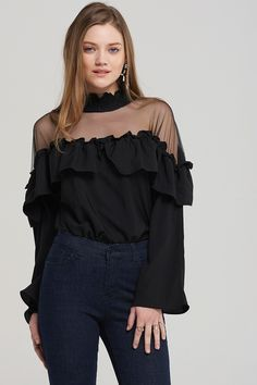 Sally Shoulder Sheer Blouse Discover the latest fashion trends online at storets.com #fashion #shouldersheer #sheerblouse #blouses #storetsonme