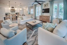 WaterColor Beach Home (House of Turquoise) House Of Turquoise, Coastal Living Rooms, Coastal Cottage, Coastal Style, Coastal Bedrooms, Modern Cottage, Coastal Homes, Coastal Decor, Living Spaces