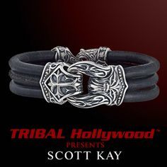 STERLING HOLSTER LOOP Triple Strand Black Leather Cross Shield Silver Bracelet by Scott Kay