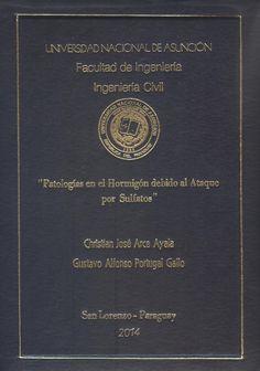 T1443               Arce Ayala, Christian José y Portugal Gallo, Gustavo                   Alfonso (2014). Patologías en el                   hormigón debido al ataque por sulfatos. San Lorenzo :                   FIUNA. 477 p.