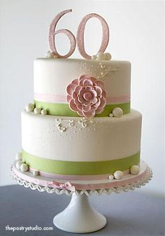love the pale pink with lime green Girly Cakes, Fancy Cakes, Cute Cakes, Pretty Cakes, Beautiful Cakes, 60th Birthday Cakes, Birthday Cakes For Women, 60 Birthday, Fondant Cakes