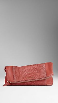 Medium Python and Leather Folded Clutch | Burberry