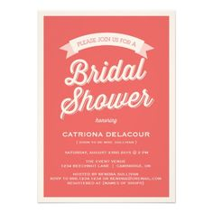 RED RETRO TYPOGRAPHY | BRIDAL SHOWER INVITATION