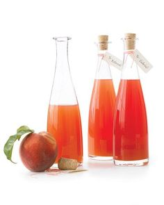 Fresh-Peach-Infused Vinegar | Simmer chopped peaches with white-wine vinegar and honey to make this tangy-sweet condiment. This recipe is a perfect way to use up overripe fruit, and makes a beautiful hostess gift when presented in a decorative bottle.