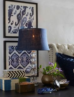 Decorate with blue Ikat prints. Decorate with blue Ikat prints. Decor, Chic Bedroom, Wall Decor, Interior, Framed Fabric, Blue Decor, Bedroom Photos, Home Decor, White Decor