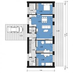 Tali III Narrow House Plans, Dream House Plans, House Floor Plans, Architect Design House, House Design, Floor Plan Drawing, Long House, Hotel Room Design, Shed Homes