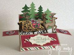 Stampin' Up! Santa's Sleigh Bundle & This Christmas DSP - Judy May, Just Judy Designs. Tutorial Available.