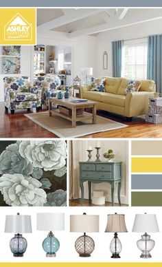 Sofa, accent chairs, accent tables and more all sporting the Spring yellows and blues - PLUS floral accents!