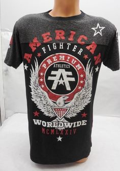 2f1d69677f8425 New American Fighter Mens Red Training Division Logo Graphic S S Tee  T-Shirt M  AmericanFighter  GraphicTee