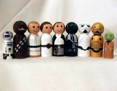 "R2D2, Chewbacca, Luke Skywalker, Princess Leia, Han Solo, Darth Vader, Stormtrooper, C3PO and Master Yoda: ""May the force be with you"", Star Wars peg dolls #starWars"