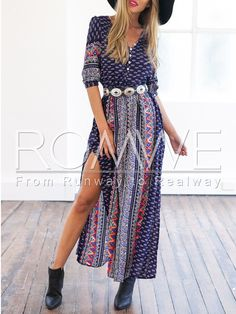 Navy Half Sleeve Vintage Print Split Maxi Dress 18.99