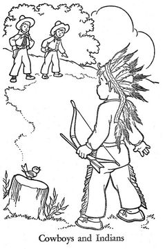 Published in 1955 by Western Publishing Company, Inc.A Drawing by Eileen Vaughan. School Coloring Pages, Coloring Pages To Print, Coloring Book Pages, Christmas Embroidery Patterns, Hand Embroidery Designs, Black And White Art Drawing, Indian Colours, Outline Drawings, Boy Quilts