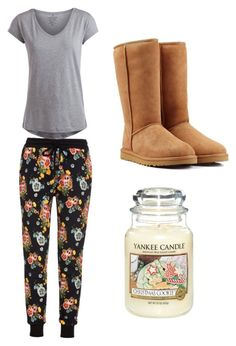 """""""Cosy ✌️"""" by margot-52 ❤ liked on Polyvore featuring Markus Lupfer, Pieces, UGG Australia and Yankee Candle"""