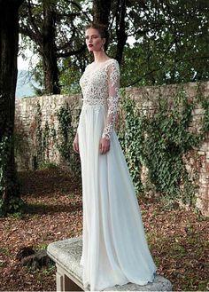 Buy discount Elegant Tulle & Chiffon Bateau Neckline Natural Waistline Sheath Wedding Dress With Beaded Lace Appliques at Dressilyme.com