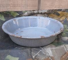 Vintage Enamelware Dish Shabby Chic Metal Bowl by ShadeTreeClassics on Etsy