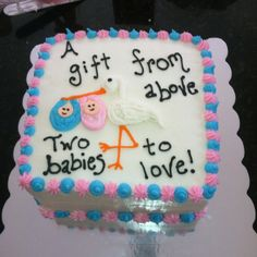 Twin baby shower cake boy/girl