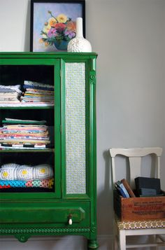 Applying fabric to furniture DIY :) great idea if the cabinet is awesome but missing some glass... also great to not have glass in a kids bathroom!