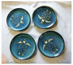 Sea Turtle Pottery Plates by rikablue on Etsy, $128.00