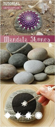 Pebble and Stone Crafts - Mandala Stones DIY - DIY Ideas Using Rocks, Stones and Pebble Art - Mosaics, Craft Projects, Home Decor, Furniture and DIY Gifts You Can Make On A Budget http://diyjoy.com/diy-pebble-stone-crafts