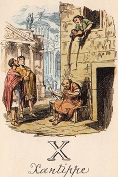 """X: Xantippe"" from ""A Comic Alphabet"" by George Cruikshank (1836)"