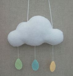HANGING FELT CLOUD MOBILE A beautiful handstitched hanging felt cloud mobile. This pretty fluffy cloud has pastel coloured rain drops. All handstitched, no glue was used to make this soft cloud. Le Cloud, Cloud Mobile, Pentecost, Rain Drops, Hand Stitching, Pastel, Felt, Stripes, Clouds