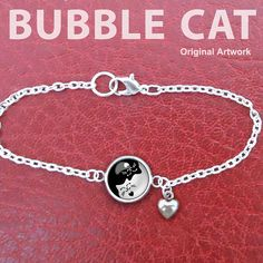 Yin Yang Cats Bracelet Black and White Charm by BubbleCatShop