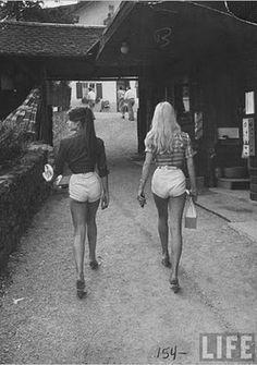 1970s, white hotpants, long hair, girls in the 1970s